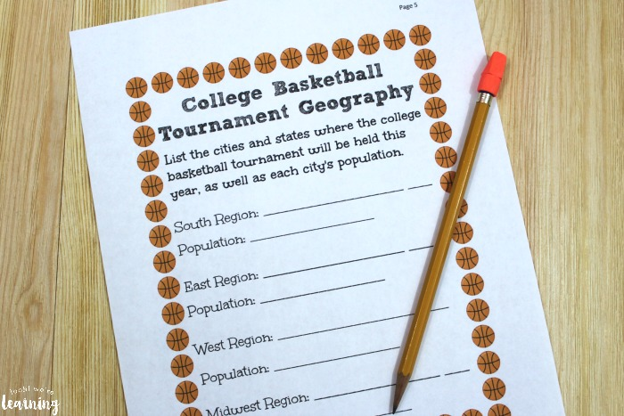 College Basketball Tournament Worksheets