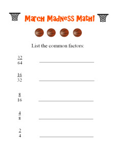 Our printable March Madness Math worksheet