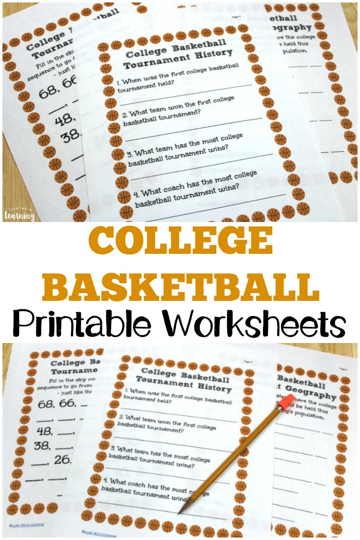 Teach students about the history of the college basketball tournament with these college basketball worksheets for kids!