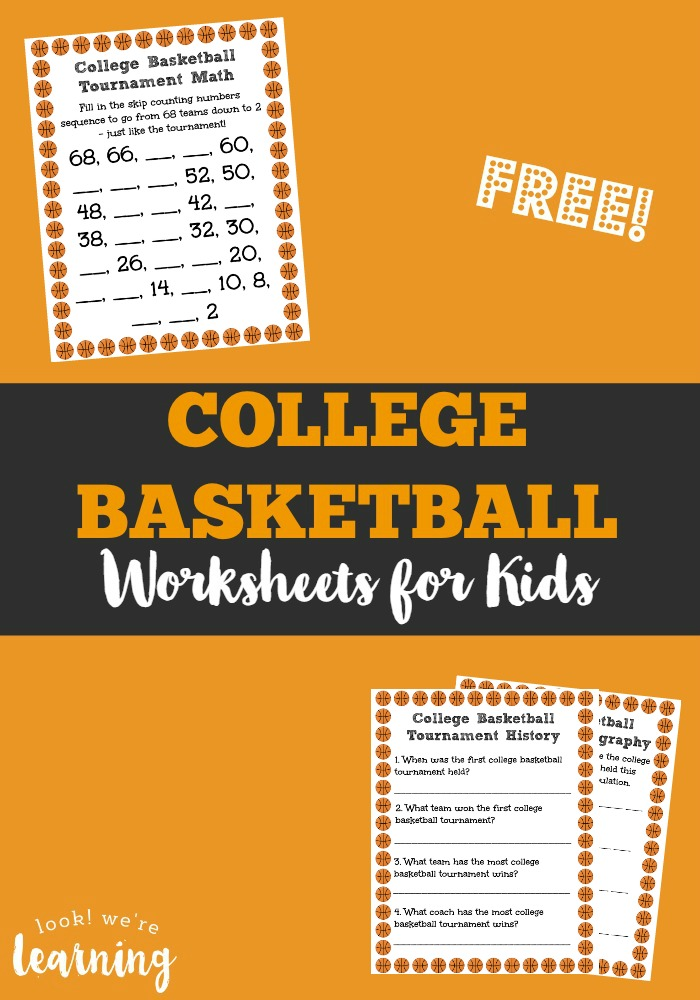 College Basketball Worksheets for Kids - Look! We\'re Learning!