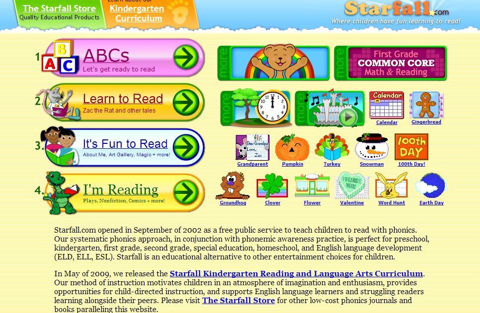 Website we love starfall look we re learning