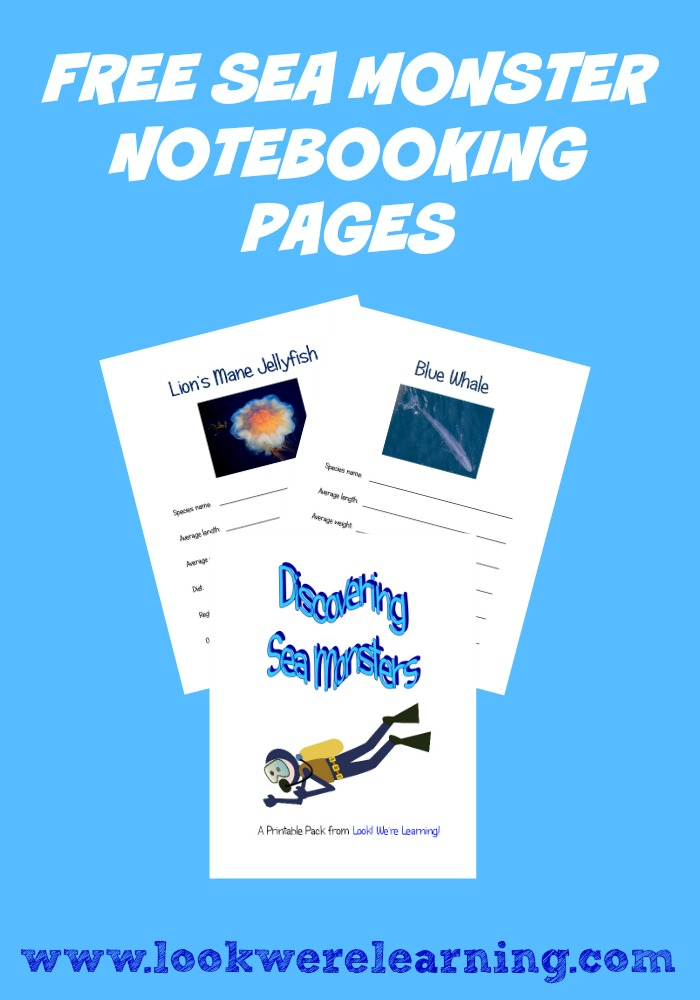 Free Sea Monster Notebooking Pages