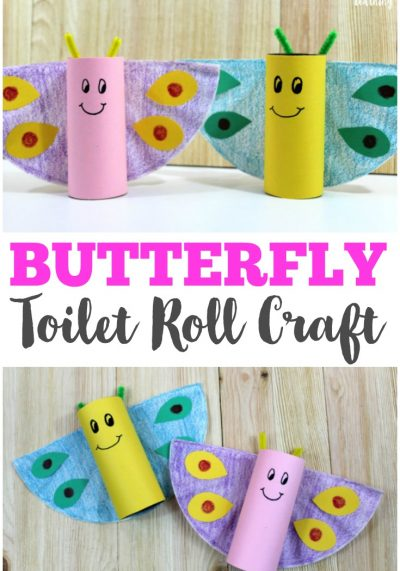 Make this easy spring toilet roll butterfly craft with your kids! So fun and simple for little ones!