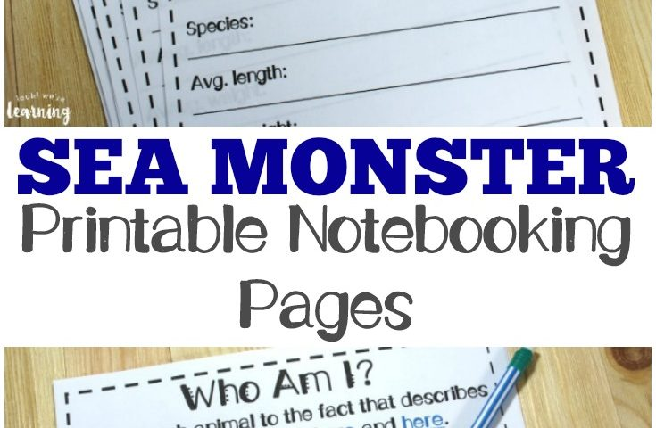 Printable Sea Monster Notebooking Pages