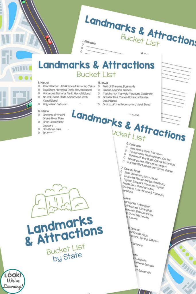 Printable U.S. Landmarks Travel Bucket List