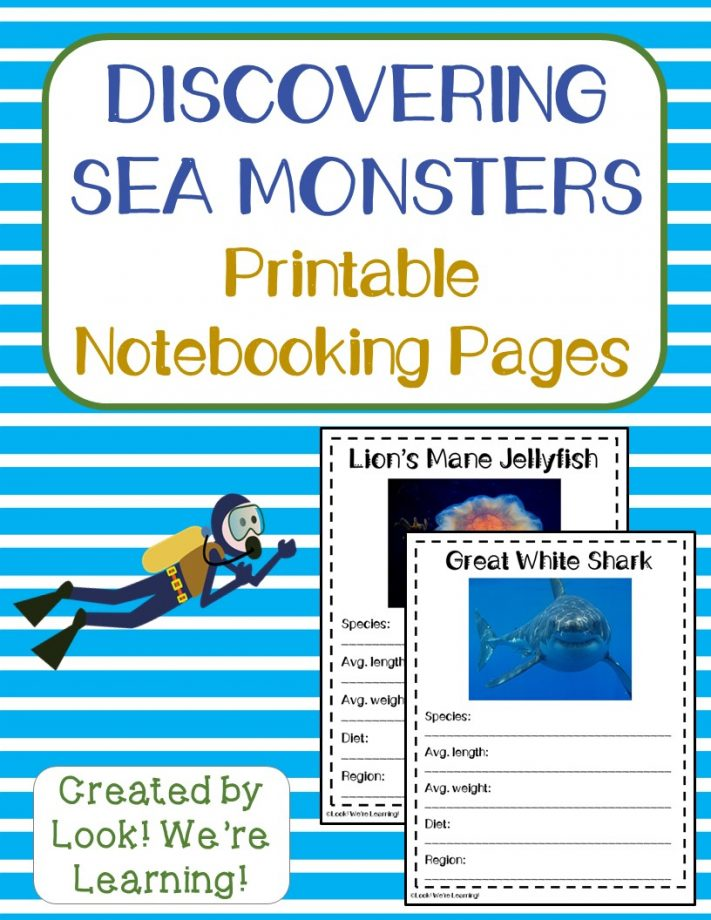 Sea Monster Notebooking Pages
