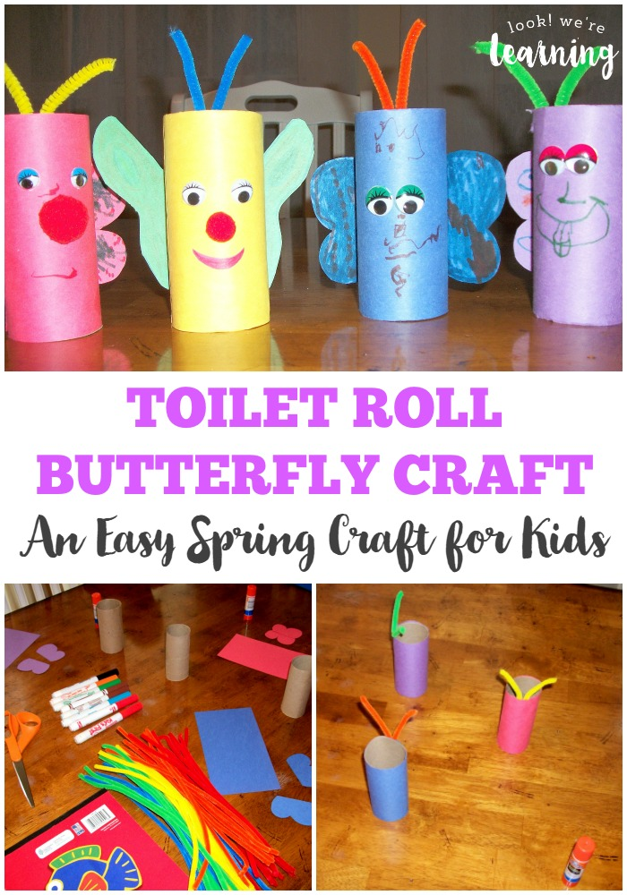This simple toilet roll butterfly craft is such a fun spring craft for kids to make!