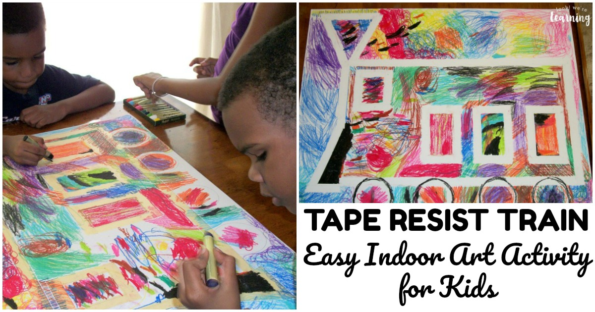 Fun and Easy Train Tape Resist Art Activity