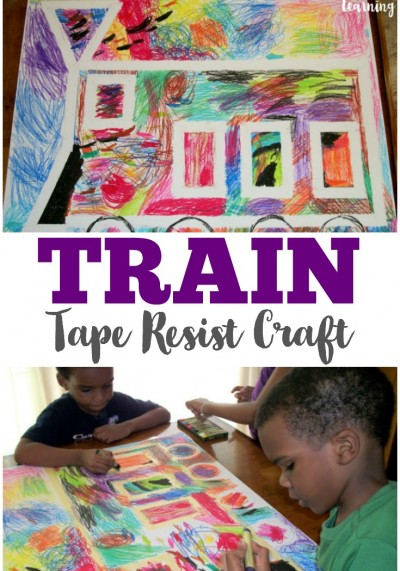 This easy and colorful train tape resist craft is a neat way for kids to make art!