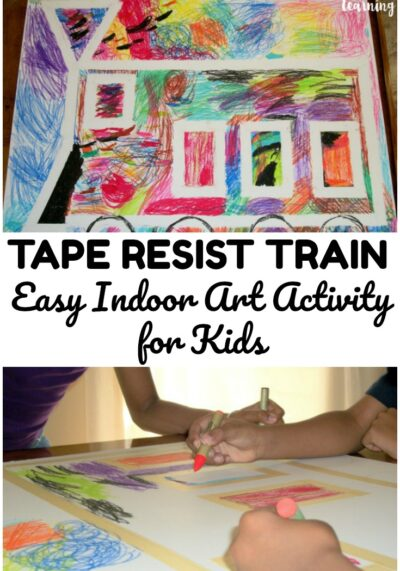 This fun and easy train tape resist art activity is a perfect indoor art lesson for young kids!