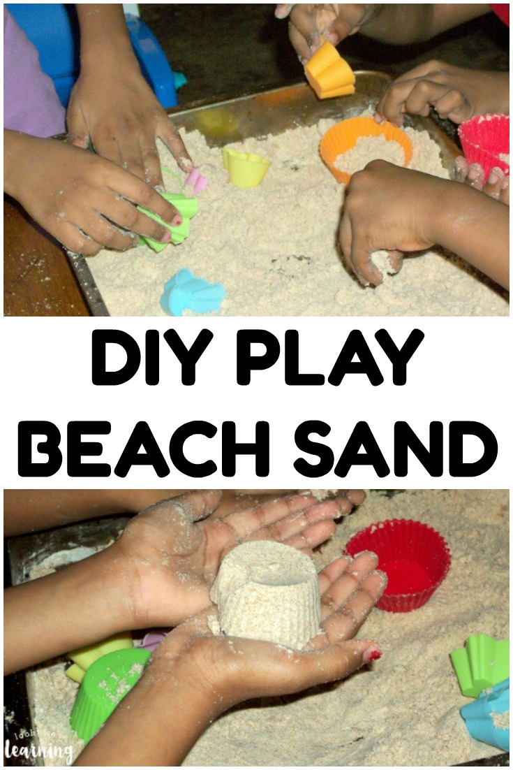 Make this simple DIY play beach sand recipe to share a summer sensory activity with the kids!