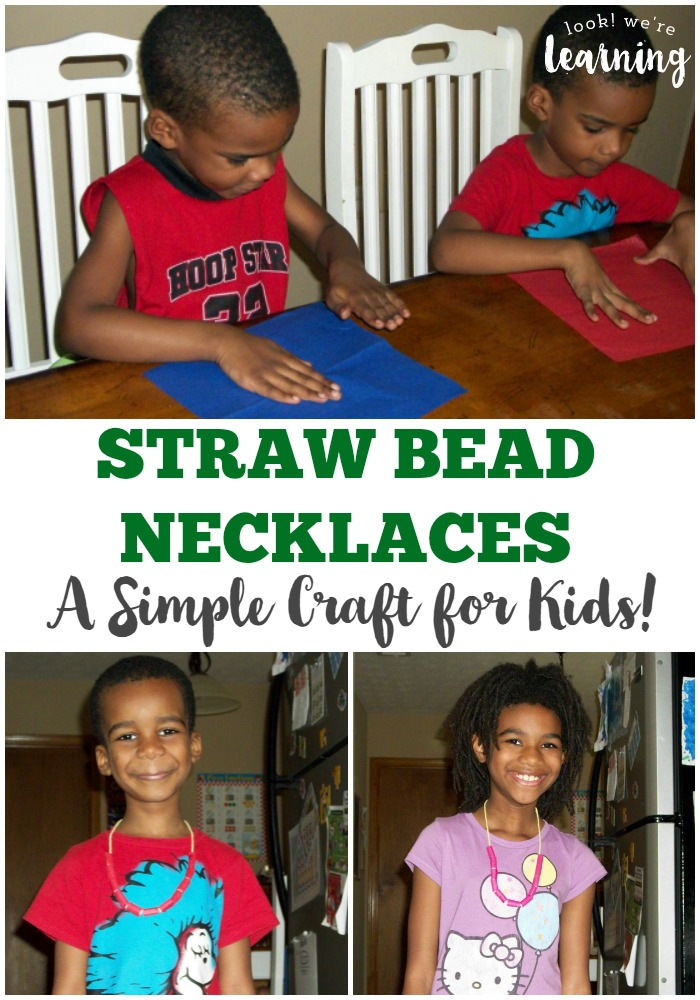 Make some simple jewelry with the kids with this fun straw bead necklace craft!