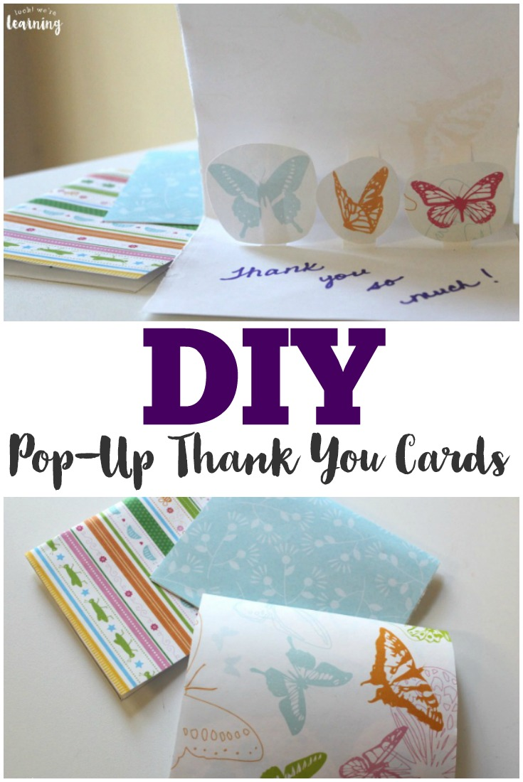 Make these easy DIY pop up thank you cards to share with loved ones and friends! They're easy enough for kids to make too!