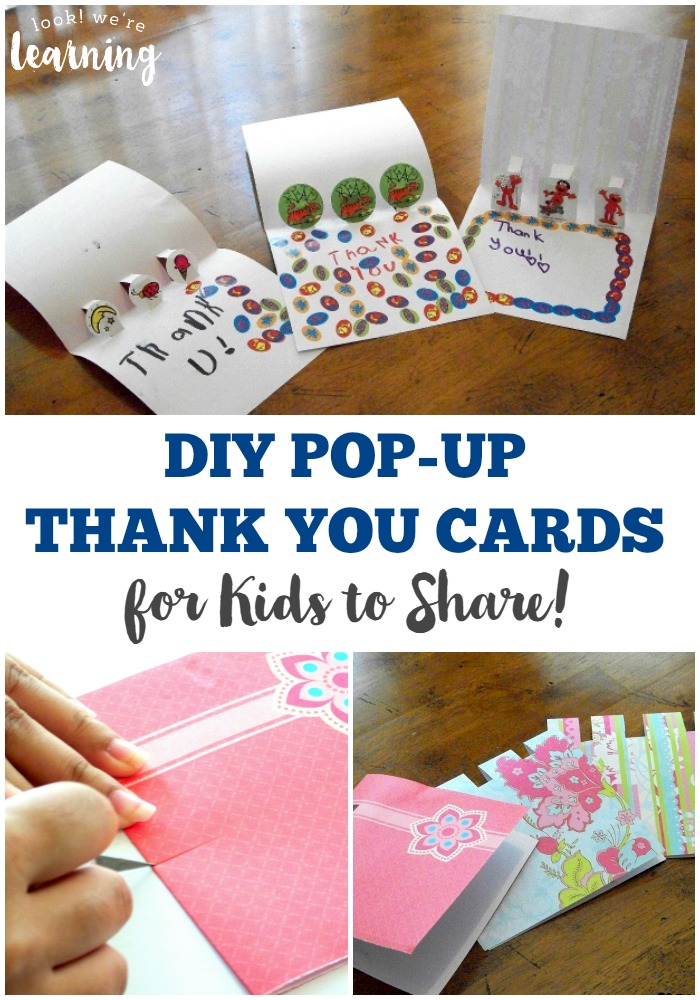 Diy pop up thank you cards look we 39 re learning for Pop up card craft