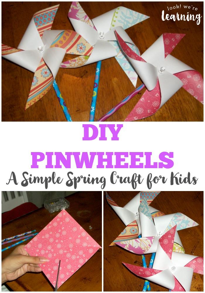 Diy Pinwheel Craft For Kids Look Were Learning