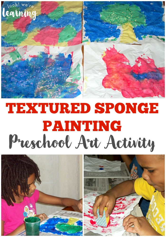This easy textured sponge painting craft is a perfect preschool art activity! It only takes a few minutes!