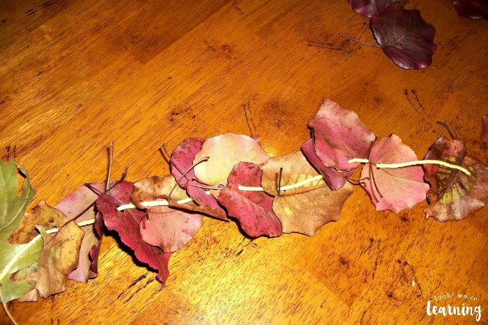 Assembling a Fall Leaf Garland