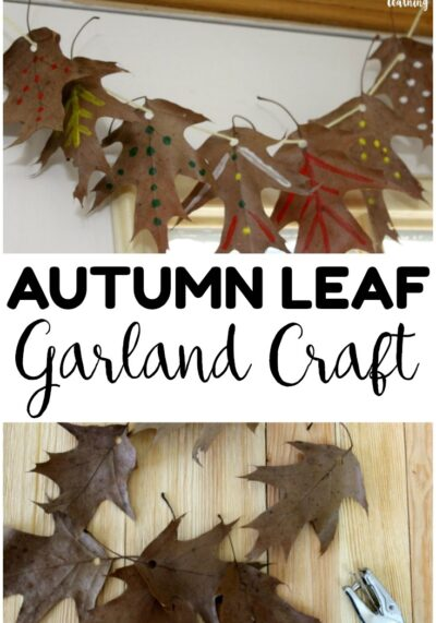 Make this easy fall leaf garland craft with little ones this autumn! A perfect fall art activity for kids!