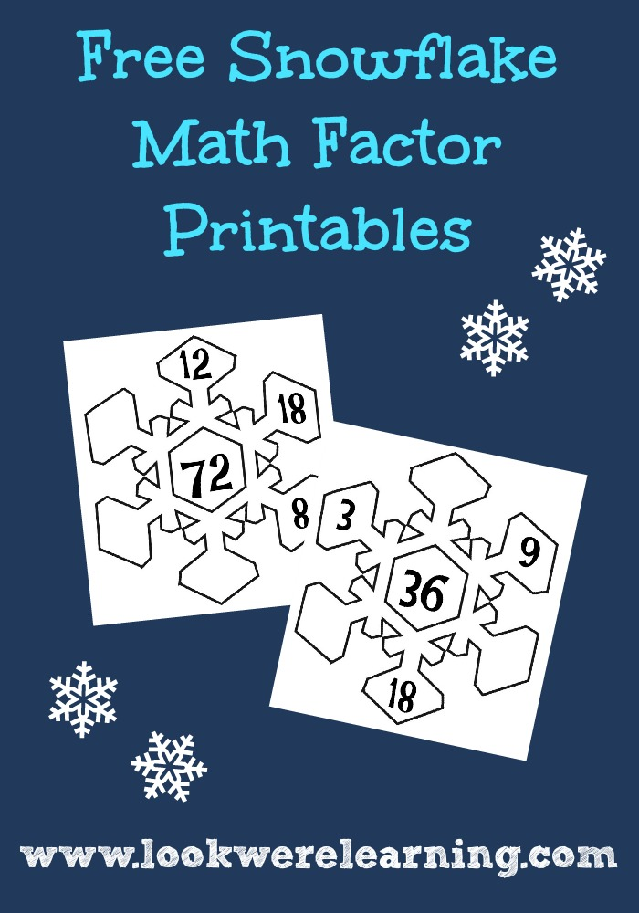 These free snowflake math factor printables are perfect for helping kids work on multiplication skills!
