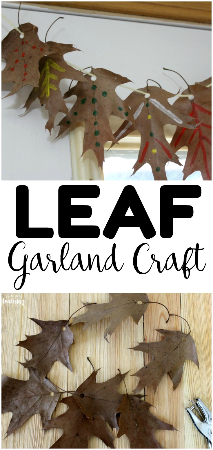 This easy fall leaf garland craft is a perfect autumn art project for kids! Gather fall leaves from the neighborhood and make this simple garland to hang in the home or classroom!