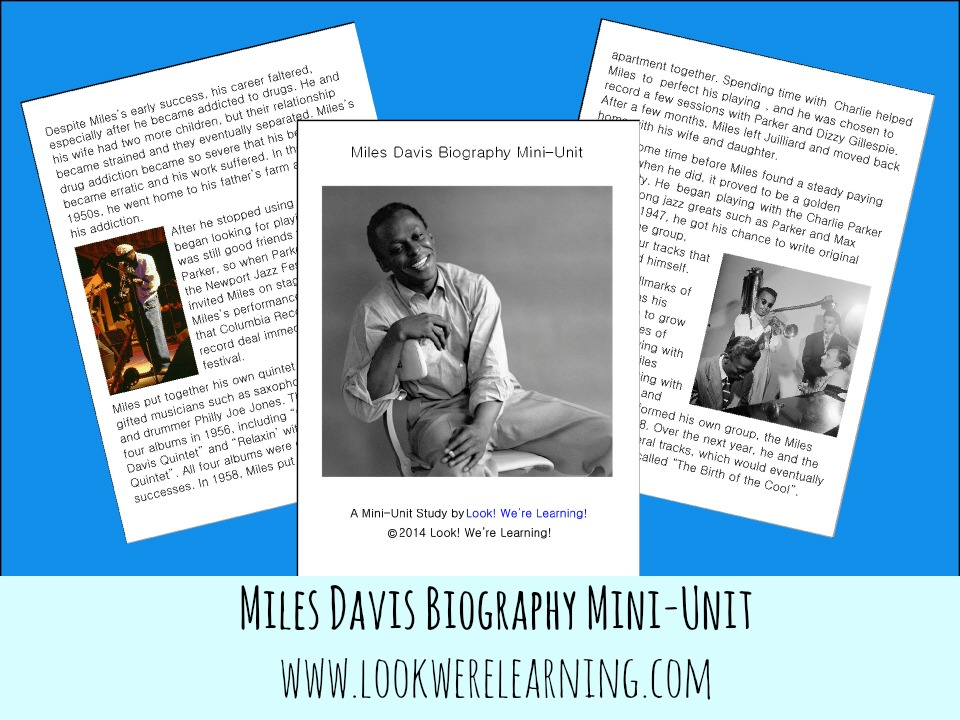 Printable Miles Davis Mini-Unit @ Look! We're Learning!