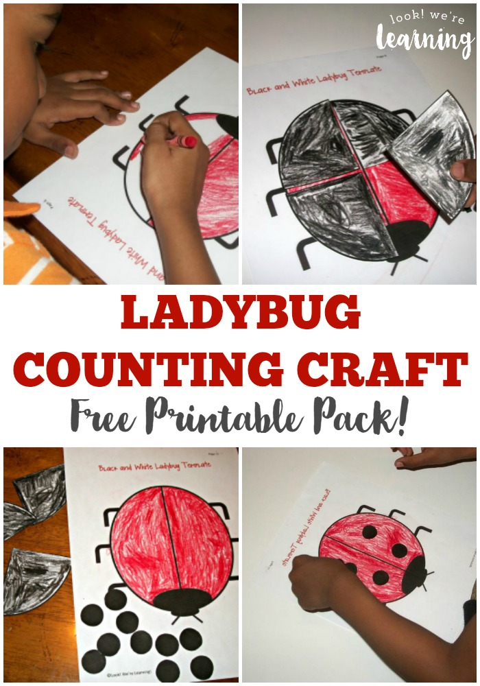 Make a fun ladybug counting craft with these free printable activities for The Grouchy Ladybug!