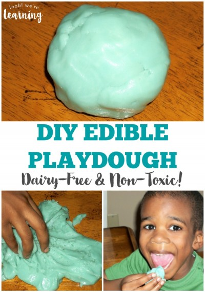 This edible play dough dairy free recipe is perfect for kids who love sensory play but avoid eating dairy! It's super sweet and soft for play!