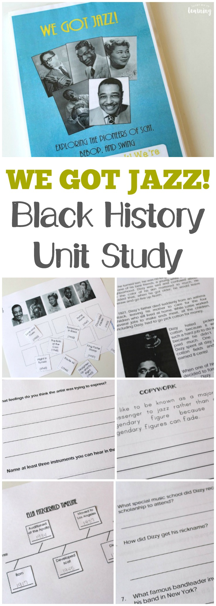 Introduce kids to the pioneers of jazz and bebop with this printable jazz black history unit study for kids!