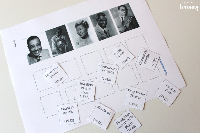 Jazz History Music Matching Activity