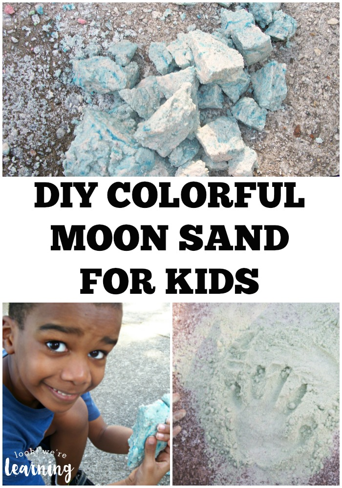 This DIY colored moon sand recipe is so easy and fun for kids to make!