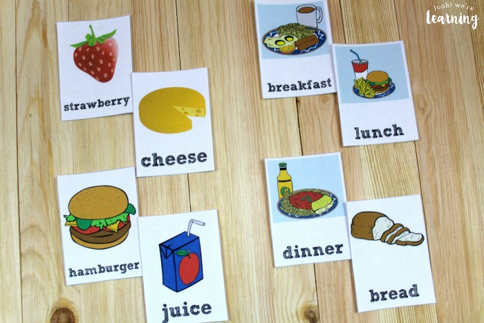English and Spanish Food Flashcards