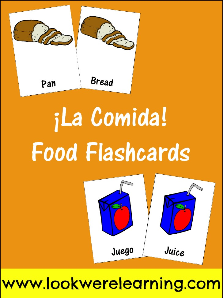Free Spanish Food Flashcards for Food - Look! We're Learning!