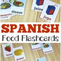 Pick up these printable Spanish food flashcards to help kids learn common food words in espanol!