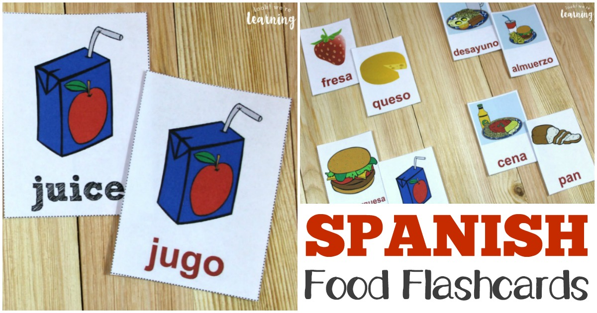 Printable English to Spanish Food Flashcards for Kids