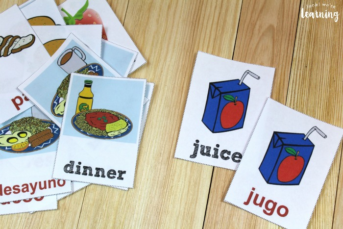 Printable Spanish Flashcards for Food Words