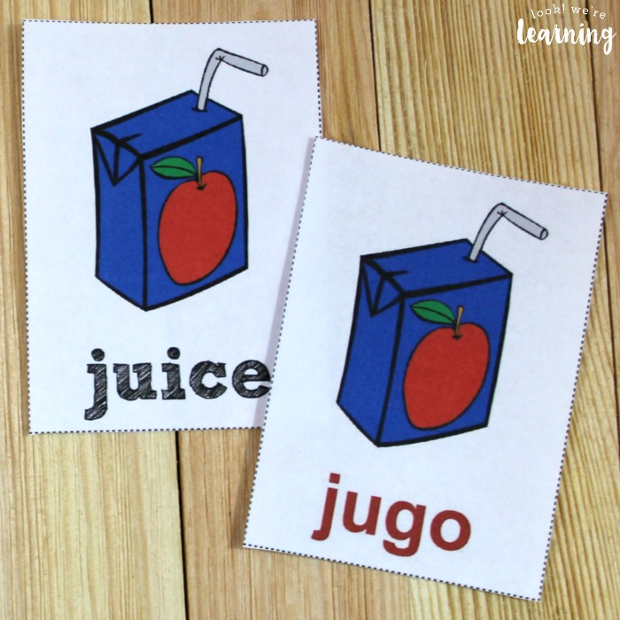 Printable Spanish Food Word Flashcards for Kids