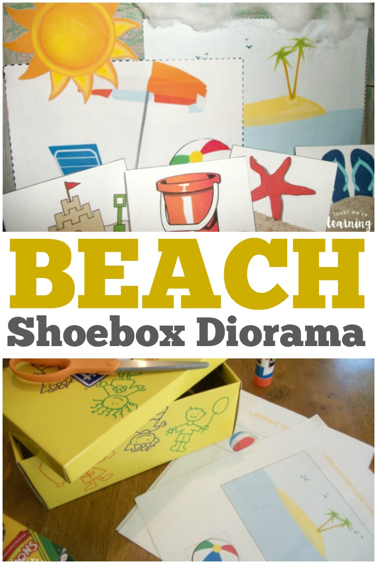 This simple beach shoebox diorama craft is a fun way for kids to create their own sandy scene!