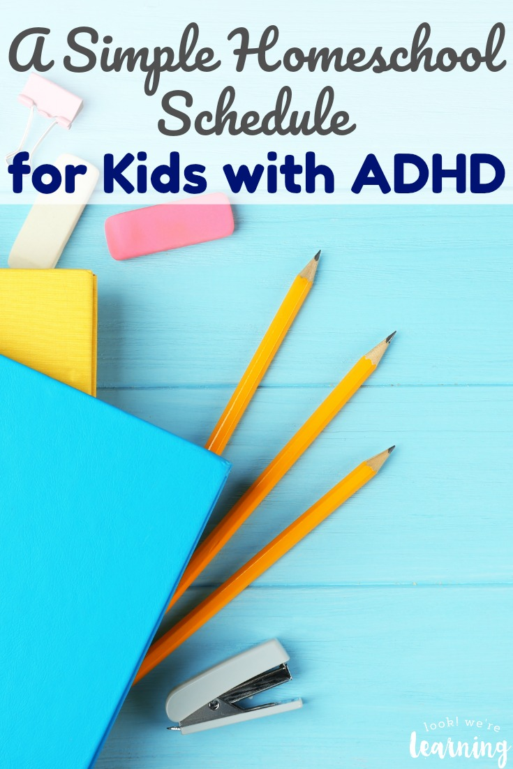 Looking for an easy ADHD homeschool schedule to try this year? See the simple ADHD homeschool schedule we use with our kids!