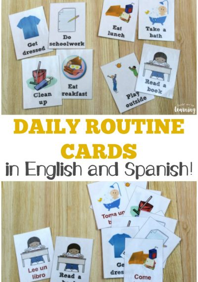 English and Spanish Free Daily Routine Cards for Kids