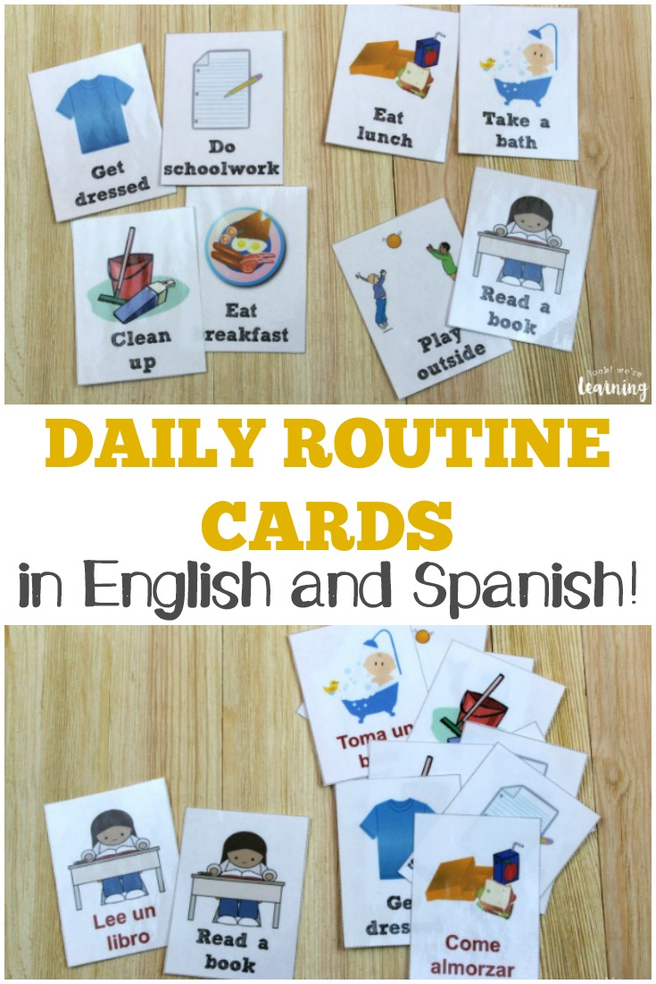 Pick up these free daily routine cards for kids in both English and Spanish!