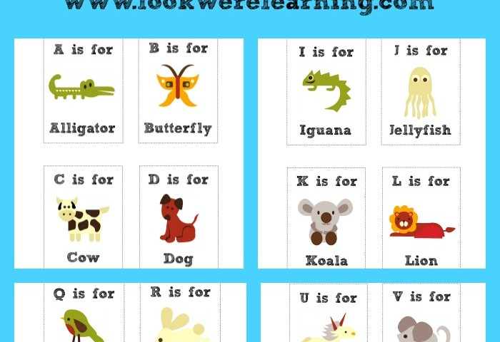 Free Printable Flashcards Alphabet Animals Cards