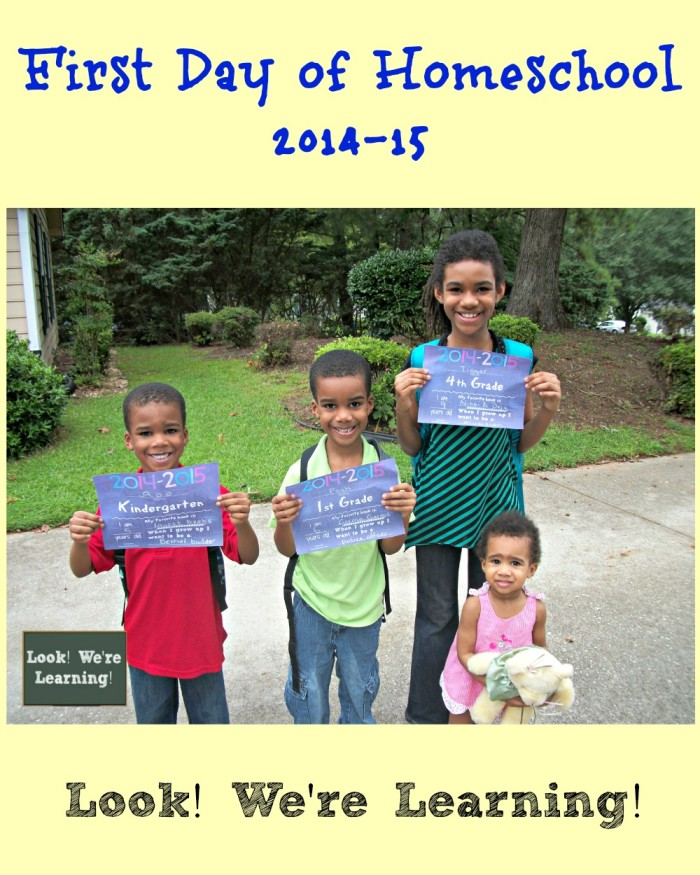 2014-15 First Day of Homeschool Pictures - Look! We're Learning!