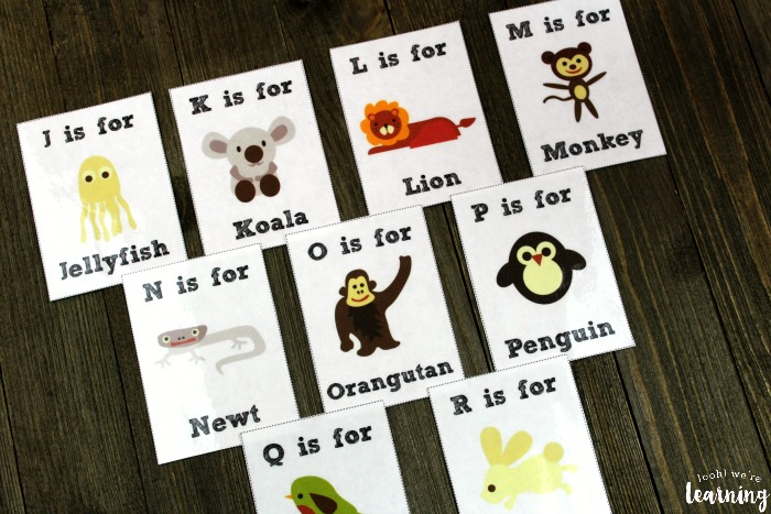 Printable A to Z Alphabet Animal Flashcards