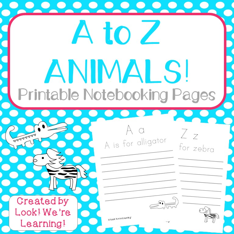 A to Z Animals Notebooking Pages