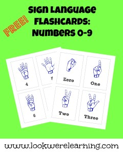 Free ASL Number Flashcards - Look! We're Learning!