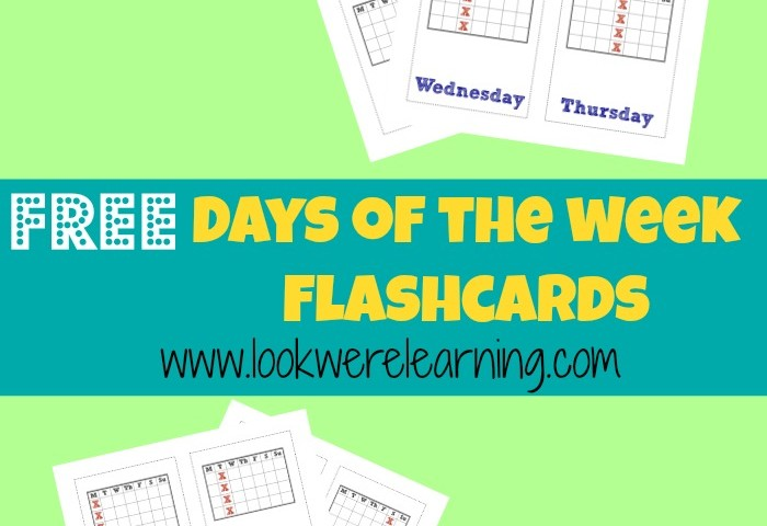 Free Printable Flashcards Days of the Week