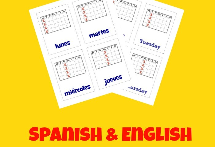 Free Printable Flashcards: Spanish Days of the Week Flashcards