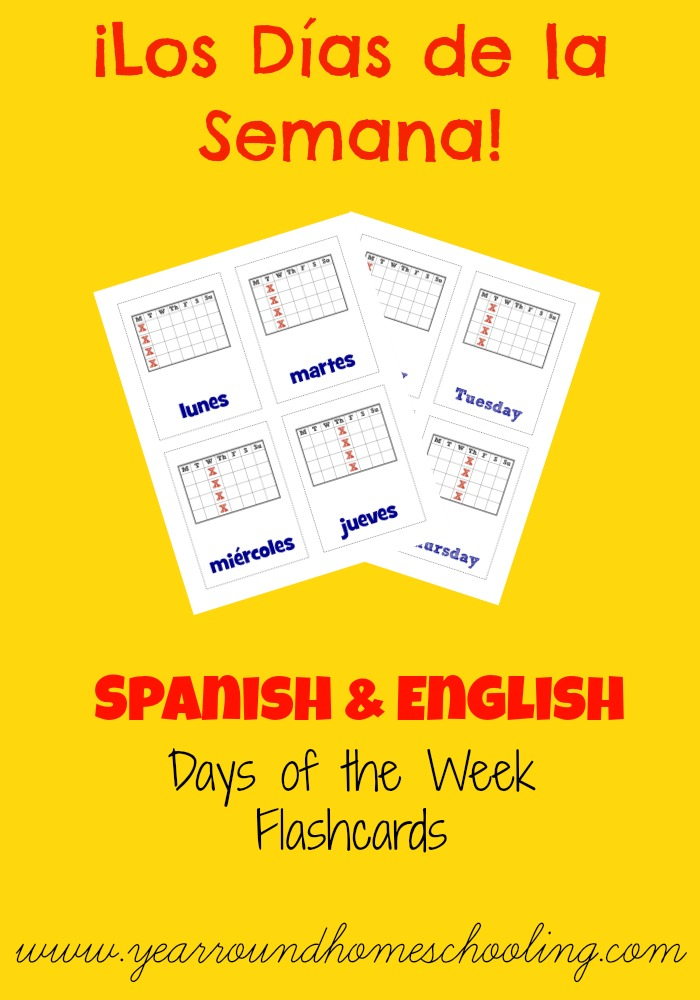 Free Printable Flashcards: Spanish Days of the Week - Look! We're Learning!