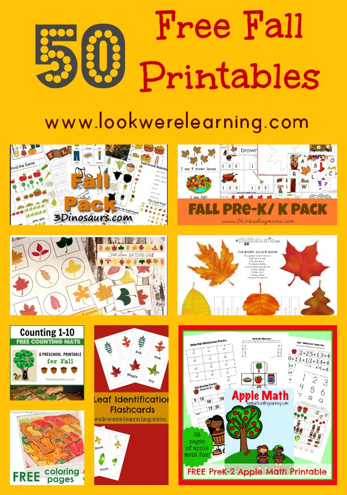 http://www.lookwerelearning.com/2014/09/50-free-fall-printables-for-kids/
