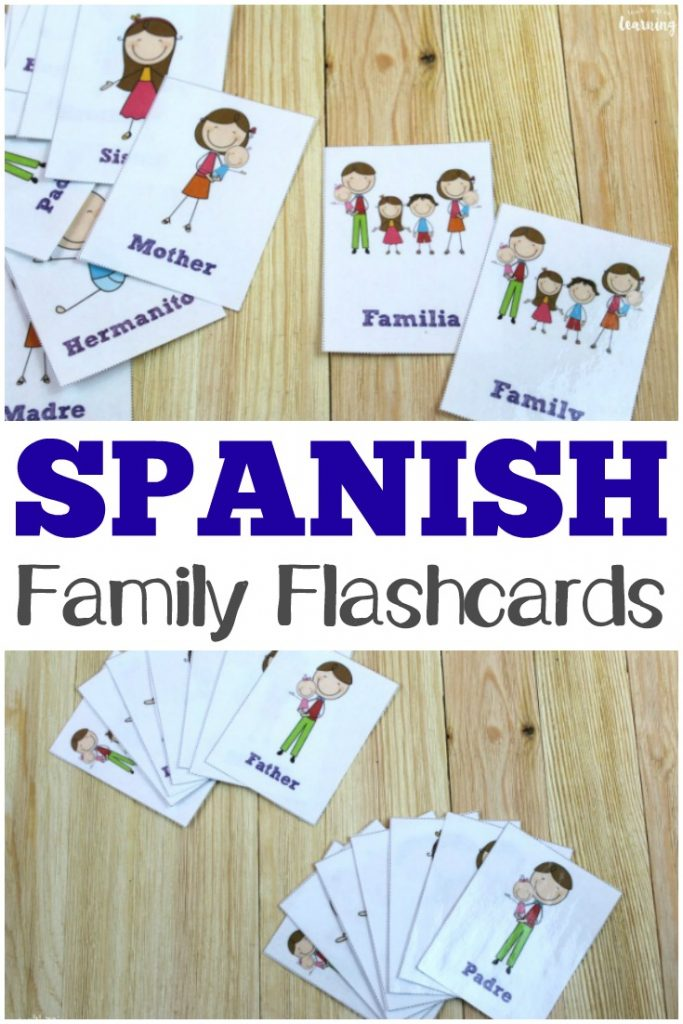 Help kids learn to recognize family words in Spanish with these printable Spanish family flashcards!